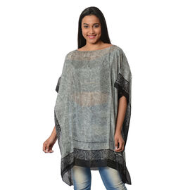 100% Mulberry Silk Kaftan One Size (90x100 Cm) - Silver and Black