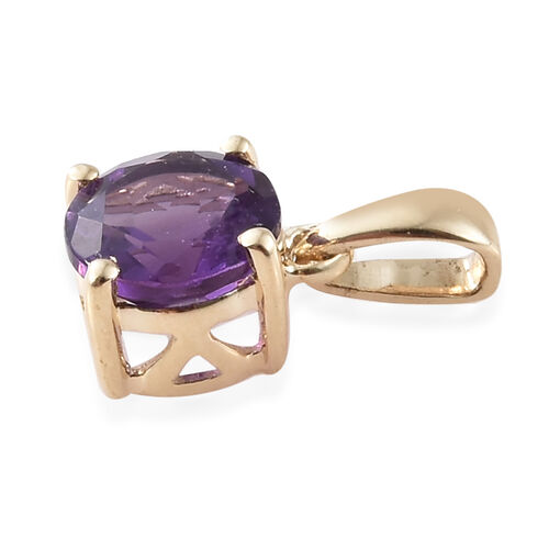 9K Yellow Gold AA Amethyst (Rnd) Pendant  0.750 Ct.