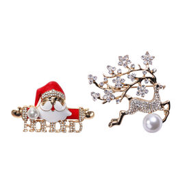 Set of 2 - Simulated Pearl and Multi Colour Austrian Crystal Santa and Reindeer Enamelled Brooch in