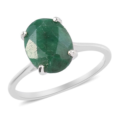Green Corundum Solitaire Ring in Sterling Silver 3.75 Ct.