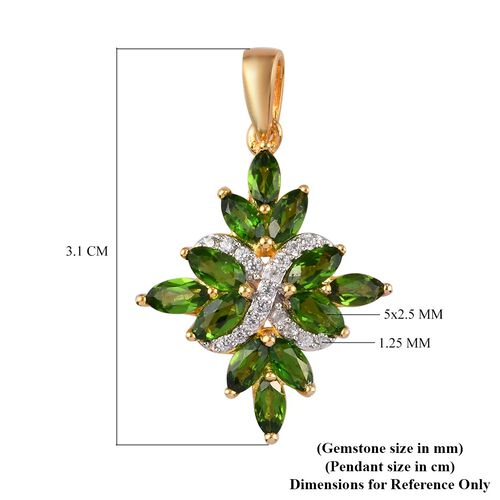 Russian Diopside and Natural Cambodian Zircon Pendant in 14K Yellow Gold Overlay Sterling Silver 2.20 Ct.