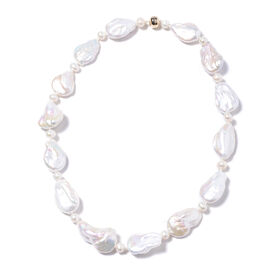 Baroque White Pearl Beaded Necklace in 14K Yellow Gold 20 Inch