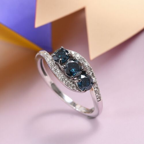 9K White Gold Blue Diamond (Rnd), White Diamond ( I1/G-H) Ring 0.75 Ct.