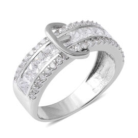 ELANZA Simulated Diamond (Sqr and Rnd) Buckle Ring in Rhodium Overlay Sterling Silver