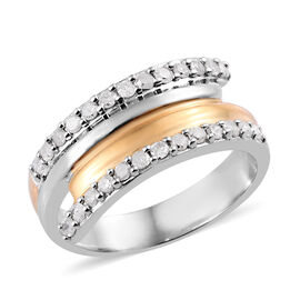Diamond (Rnd) Crossover Band Ring in Platinum and Yellow Gold Overlay Sterling Silver 0.40 Ct.