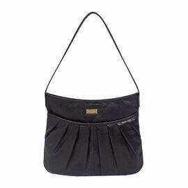 ASSOTS LONDON Evie Genuine Pebble Grain Leather Hobo Shoulder Bag - Black
