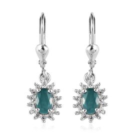 Grandidierite (Ovl), Natural Cambodian Zircon Lever Back Earrings in Platinum Overlay Sterling Silve