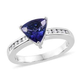 RHAPSODY 950 Platinum AAAA Tanzanite (Tri 1.600 Ct) Diamond (VS/E-F) Ring 1.750 Ct, Platinum wt 6.29 Gms.