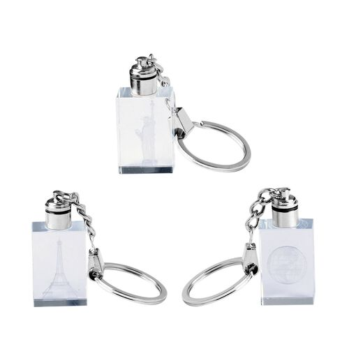 Set of 3 Earth, Statue of Liberty and Eiffel Tower Pattern Crystal LED Keychains (Size 3x2x1.2 Cm) - Rectangle Shape