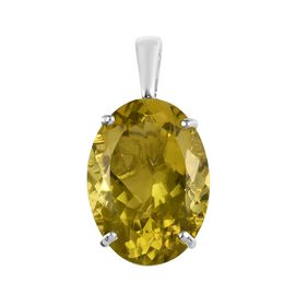 Natural Ouro Verde Quartz (Ovl 25x18 mm) Solitaire Pendant in Platinum Overlay Sterling Silver 27.00