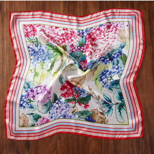 LA MAREY 100% Mulberry Silk Floral Pattern Silk Scarf (Size 52x52Cm) - White and Multi