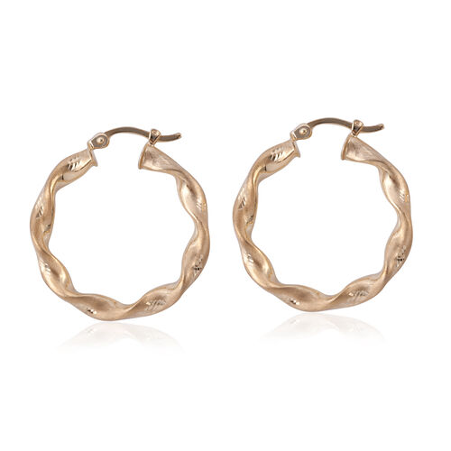 New York Close Out- 9K Yellow Gold Hoop Earrings (With Clasp Lock), Gold wt 1.85 Gram