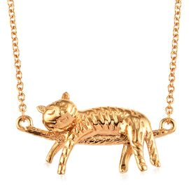 14K Gold Overlay Sterling Silver Cat Necklace (Size 18), Silver wt 6.10 Gms.