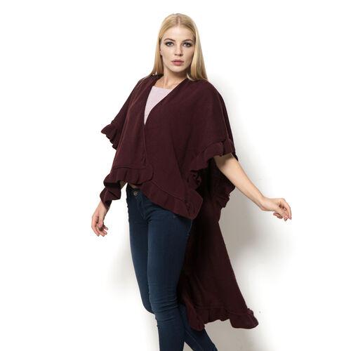 Marsala Colour Ruana (Size 100x80 Cm)