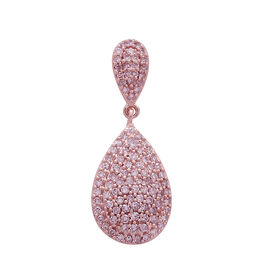 Biggest Clearance Deal-9K Rose Gold Natural Pink Diamond (Rnd) Tear Drop Pendant 0.500 Ct. Number of Diamonds 102