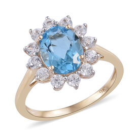 9K Yellow Gold AA Swiss Blue Topaz (Ovl 9x7 mm), Natural Cambodian Zircon Floral Ring 2.850 Ct.