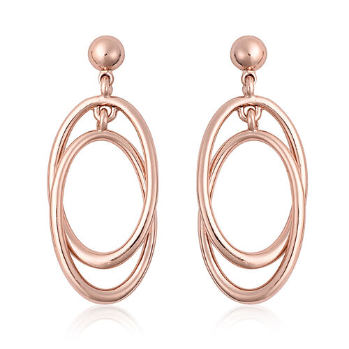 Dangle Earrings (with Push Back) in Rose Gold Tone