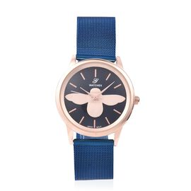 GENOA Japanese Movement Water Resistant Watch with Blue Mesh Strap in Stainless Steel