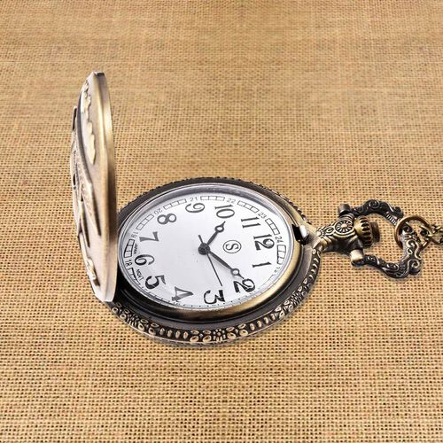 STRADA Japanese Movement Aeroplane Pattern Pocket Watch with Chain (Size 31) in Antique Bronze Plated