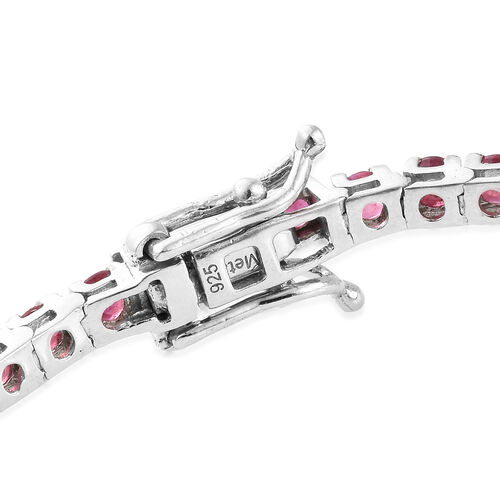 African Ruby (Rnd) Tennis Bracelet (Size 7.5) in Platinum Overlay Sterling  Silver 8.000 Ct, Silver wt 9.60 Gms