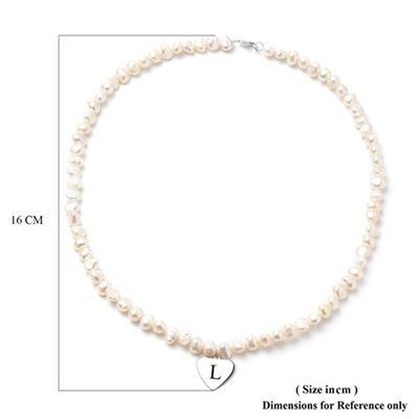 """Personalised Engravable Fresh Water Pearl and Heart Charm Necklace, Size 20"""" in Silver"""
