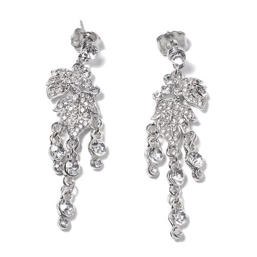 2 Piece Set - White Austrian Crystal (Rnd) Necklace (Size 20 with 3 Inch Extender) and Earrings (with Push Back) in Silver Tone