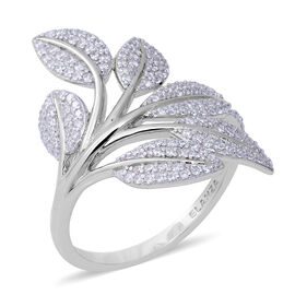 ELANZA Simulated Diamond Leaves Ring in Rhodium Overlay Sterling Silver, Silver wt 3.23 Gms
