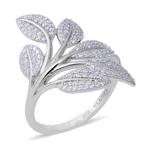 ELANZA Simulated Diamond Leaves Ring in Rhodium Plated Sterling Silver