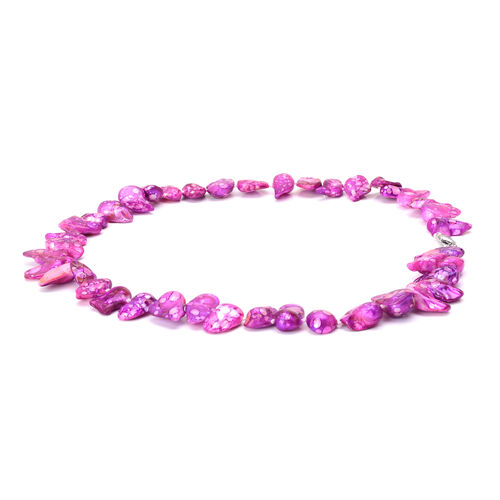 Pink Keshi Pearl Necklace (Size 20) in Silver Tone 50.000 Ct.