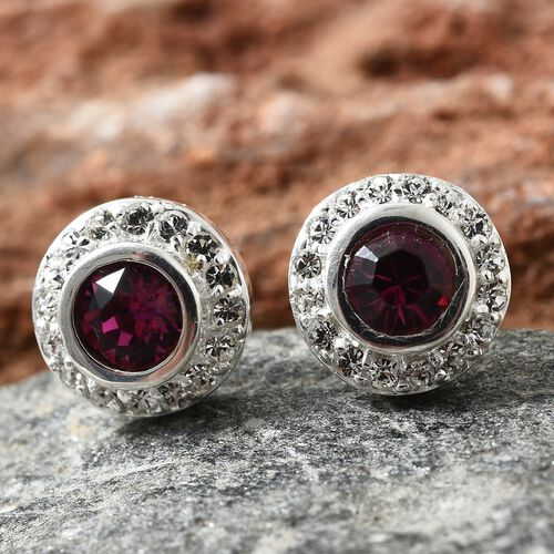 J Francis Crystal from Swarovski - Fuchsia Colour Crystal (Rnd), White Colour Crystal Stud Earrings (with Push Back) in Sterling Silver