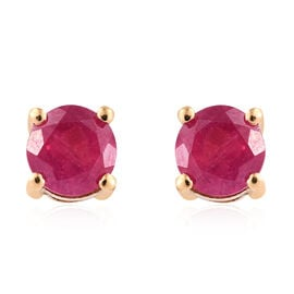 One Time Deal- African Ruby (Rnd) Stud Earrings in 14K Gold Overlay Sterling Silver 1.050 Ct.