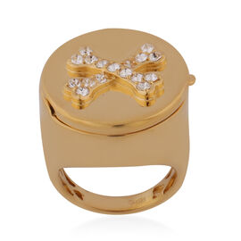 J Francis Crystal from Swarovski White Colour Crystal Signet Ring in ION Plated 18K Yellow Gold