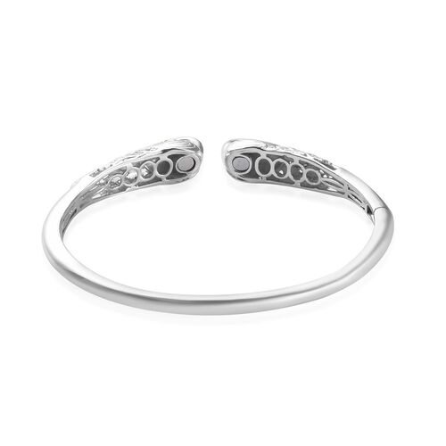 Peacock Head Magnetic Cuff Bangle (Size 7.5) in Platinum and Yellow Gold Plated