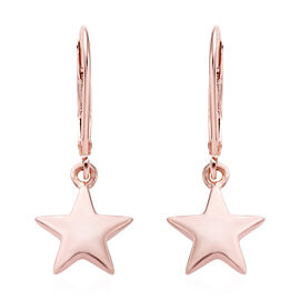 Rose Gold Overlay Sterling Silver Star Lever Back Earrings, Silver wt 2 Gms