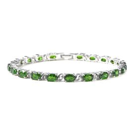 9.50 Ct Russian Diopside Tennis Style Bracelet in Rhodium Plated Silver 9 Grams 7 Inch