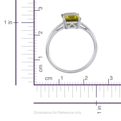 Hebei Peridot (Oct) Solitaire Ring in Platinum Overlay Sterling Silver 2.250 Ct.