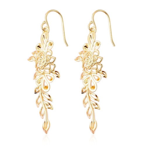 LucyQ Lace Collection - Yellow Gold Overlay Sterling Silver Hook Earrings, Silver wt 6.41 Gms