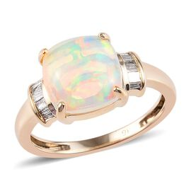 9K Yellow Gold AAA Ethiopian Welo Opal (Cush 9x9mm), Diamond Ring  2.15 Ct.
