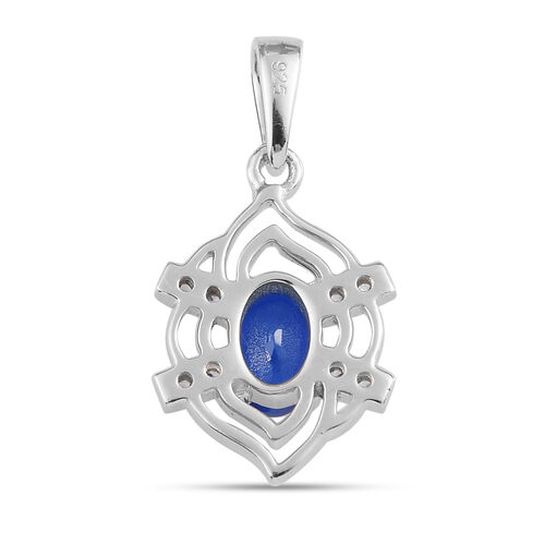 Tanzanian Blue Spinel and Natural Cambodian Zircon Pendant in Platinum Overlay Sterling Silver 1.15 Ct.