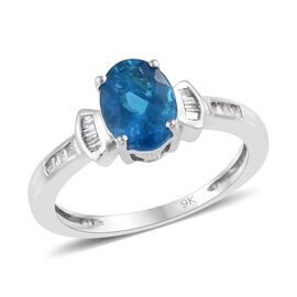 1.36 Ct AA Neon Apatite and Diamond Solitaire Ring in 9K White Gold 2.28 Grams
