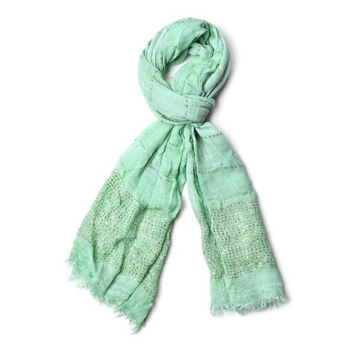 Mint Green Colour Stripe Pattern Sequins Scarf with Tassels (Size 180x90 Cm)