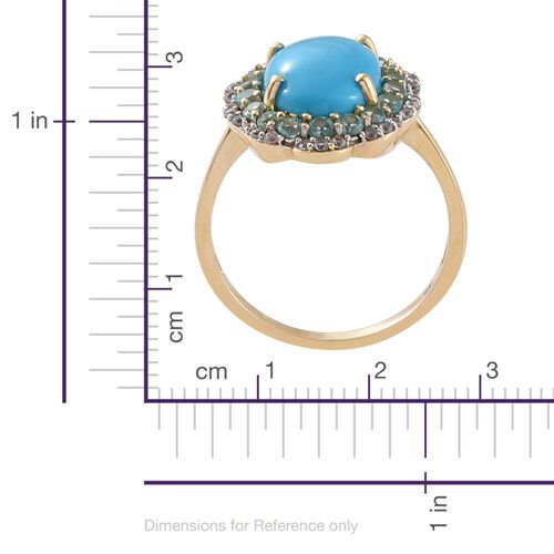 9K Y Gold AAA Arizona Sleeping Beauty Turquoise (Ovl 5.15 Ct), Paraiba Apatite and Natural Cambodian Zircon Ring 6.250 Ct.