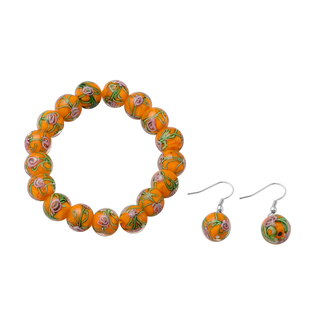 2 Piece Set - Orange Murano Glass Strachable Bracelet (Size 6,7.5 with 2 inch Extender) and Hook Ear