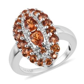 GP 2.50 Ct Orange and Blue Sapphire Cluster Ring in Platinum Plated Sterling Silver