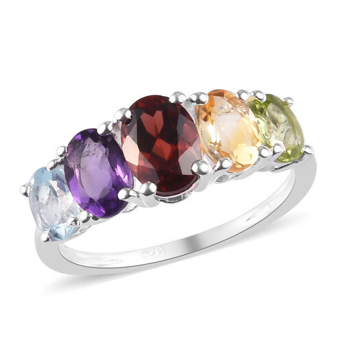 2.30 Ct Mozambique Garnet 5 Stone Ring in Sterling Silver