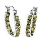 1.75 Ct Hebei Peridot Hoop Earrings in Stainless Steel