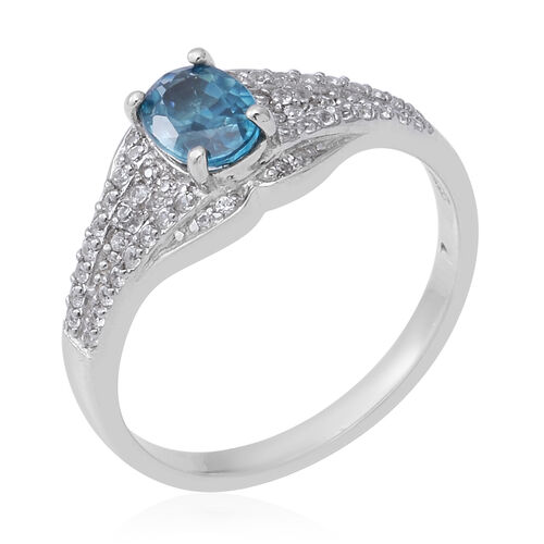 Blue Zircon (Ovl 7x5 mm), Natural White Cambodian Zircon Ring in Rhodium Overlay Sterling Silver 1.57 Ct.