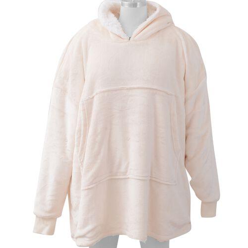 DOD - Flannel Sherpa Family Blanket Sweatshirt (Size 95x78.5 Cm) - Peach