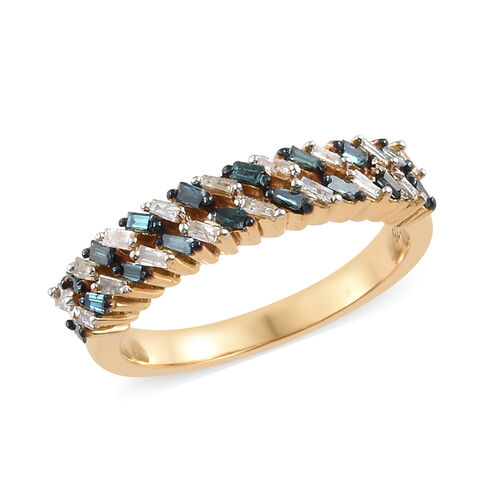 Blue and White Diamond (Bgt) Band Ring in 14K Gold Overlay with Blue Plating Sterling Silver 0.330 Ct.