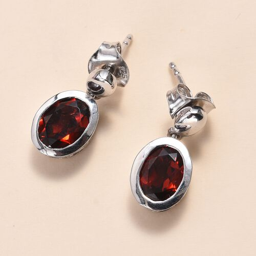 Mozambique Garnet (Ovl 8x6mm) Drop Earrings (with Push Back) in Platinum Overlay Sterling Silver 2.50 Ct.